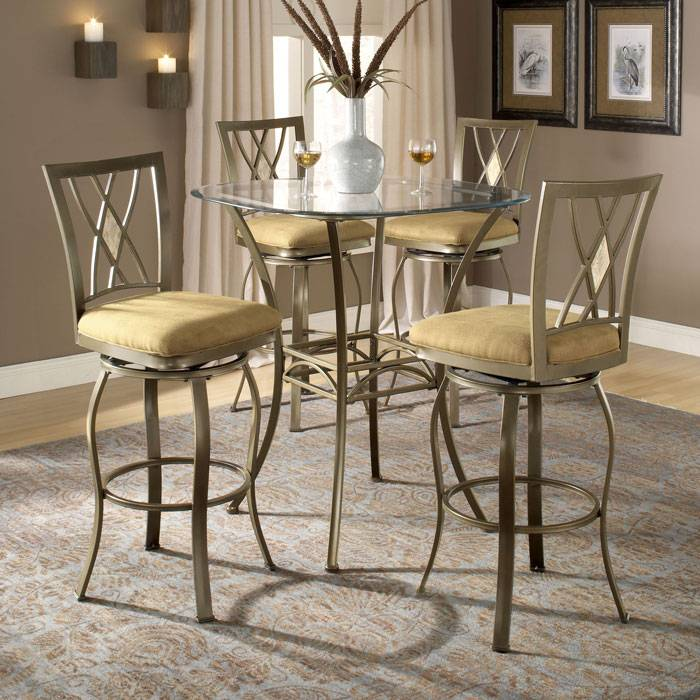Brookside Diamond 3 Piece Bar Height Bistro Set - HILL-4815PTBSDM3