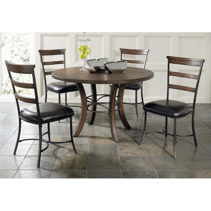 Cameron 5 Piece Round Dining Set with Ladder Back Chairs - HILL-4671DTBWC5