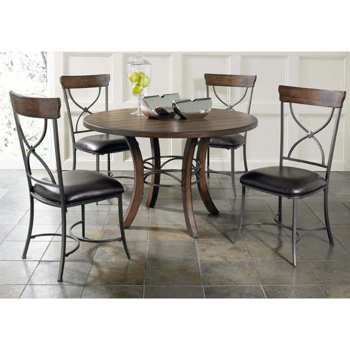 Cameron Round Wood Dining Table with Metal Ring - HILL-4671DTBW