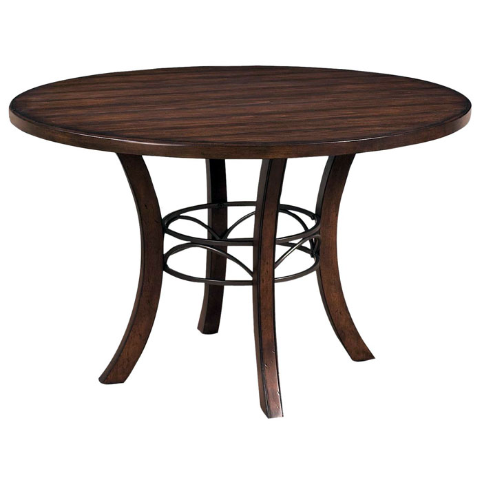Cameron Round Wood Dining Table With Metal Ring   HILL 4671DTBW ...