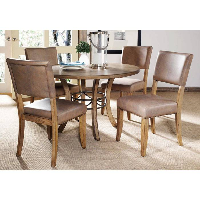 Charleston 5 Piece Round Dining Set with Parson Chairs - HILL-4670DTBWC4