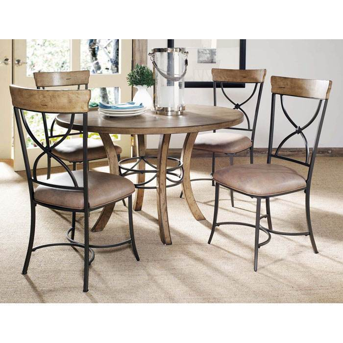 Charleston 5 Piece Round Dining Set with X-Back Chairs