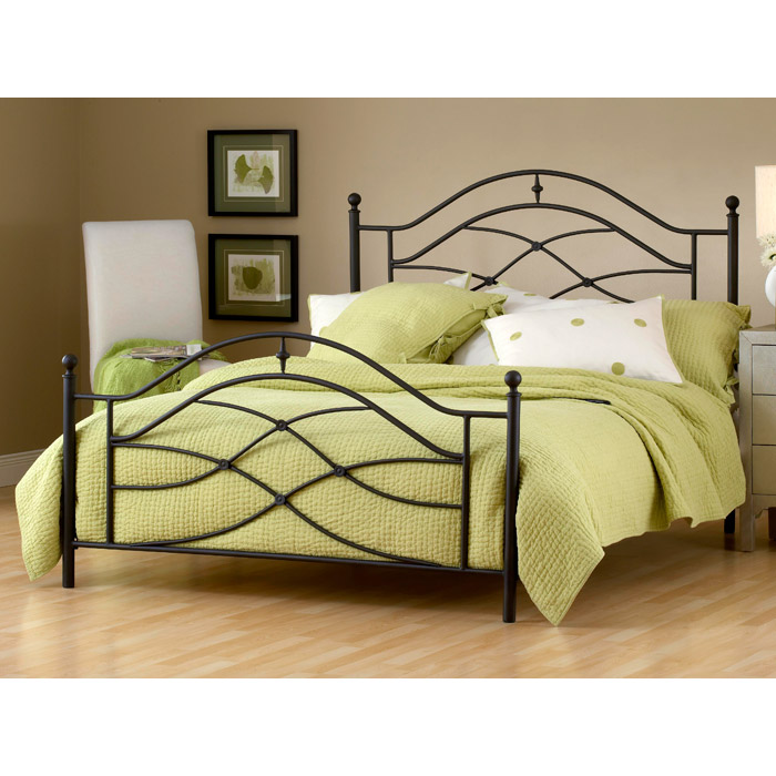 Cole Metal Bed in Black Twinkle Finish - HILL-1601B