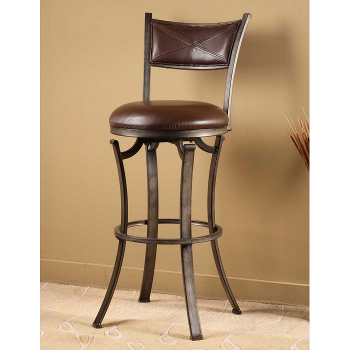 "Drummond 26"" Metal Swivel Counter Stool in Brown - HILL-4919-826"