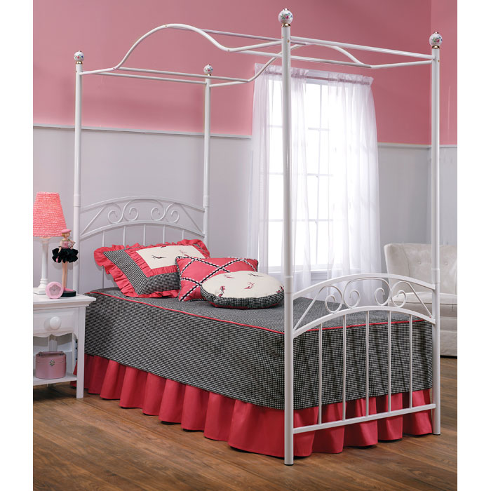 emily canopy bed in white dcg stores
