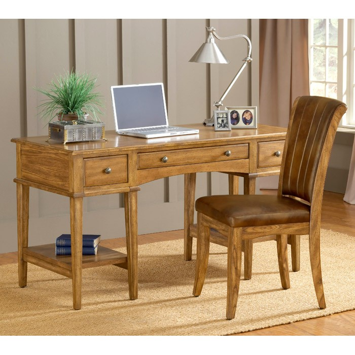 Gresham Wooden Office Desk in Medium Oak - HILL-4337-861S
