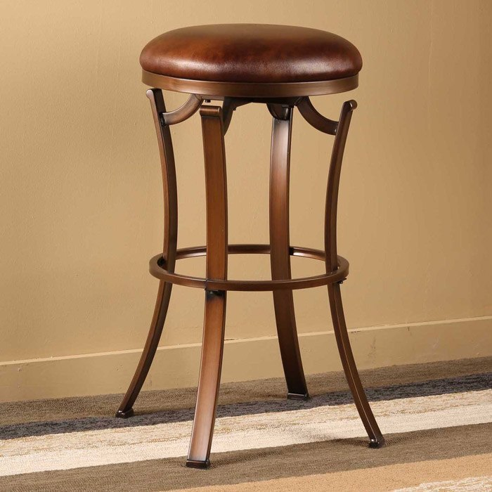 "Kelford 30"" Backless Swivel Bar Stool In Antique Bronze"