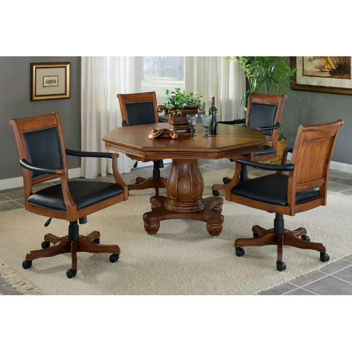 ... Kingston Square Leather Game Chair On Casters   HILL 6004 801