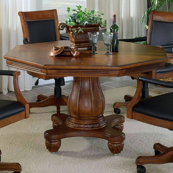 Kingston 5 Piece Game Set with Leather Chairs on Casters - HILL-6004GTBC
