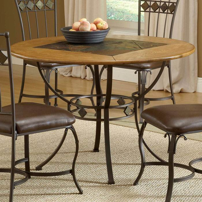 Lakeview Round Dining Table with Slate Inset - HILL-4264DTBRD