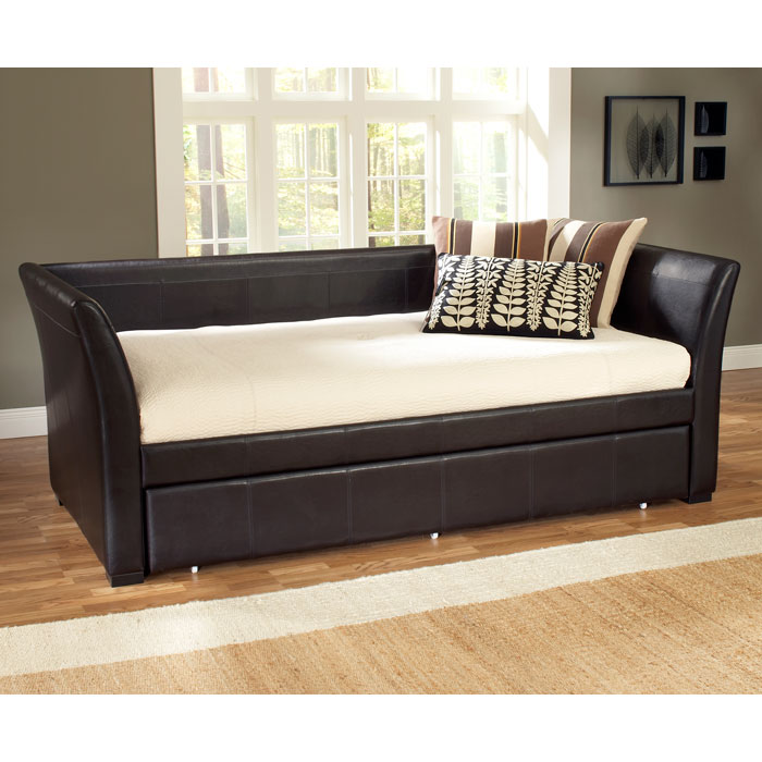 Malibu brown leather daybed with trundle dcg stores for Brown leather bedroom furniture