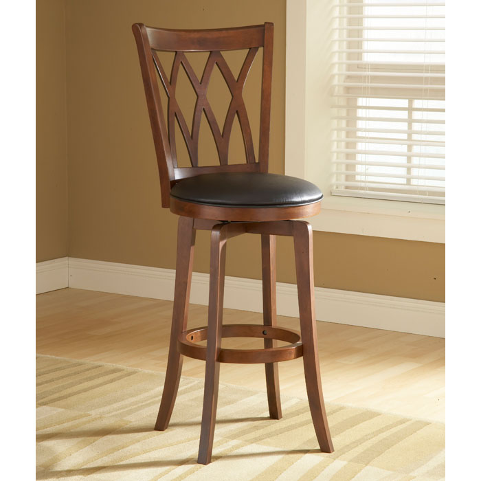 Mansfield 30 Quot Swivel Bar Stool Brown Cherry Black Seat