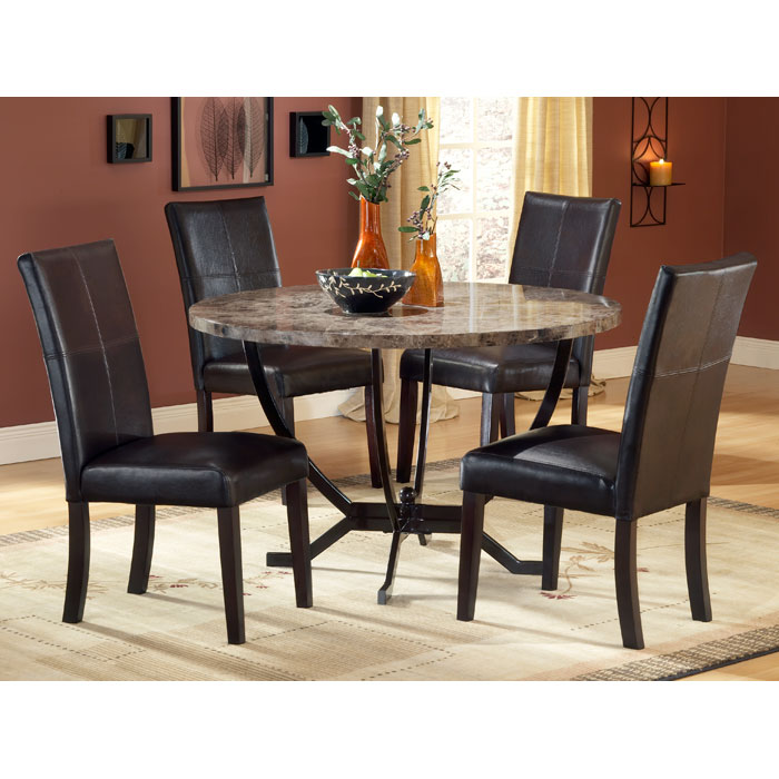 Monaco Round Dining Table With Leather Chairs DCG Stores - Marble top dining table with leather chairs
