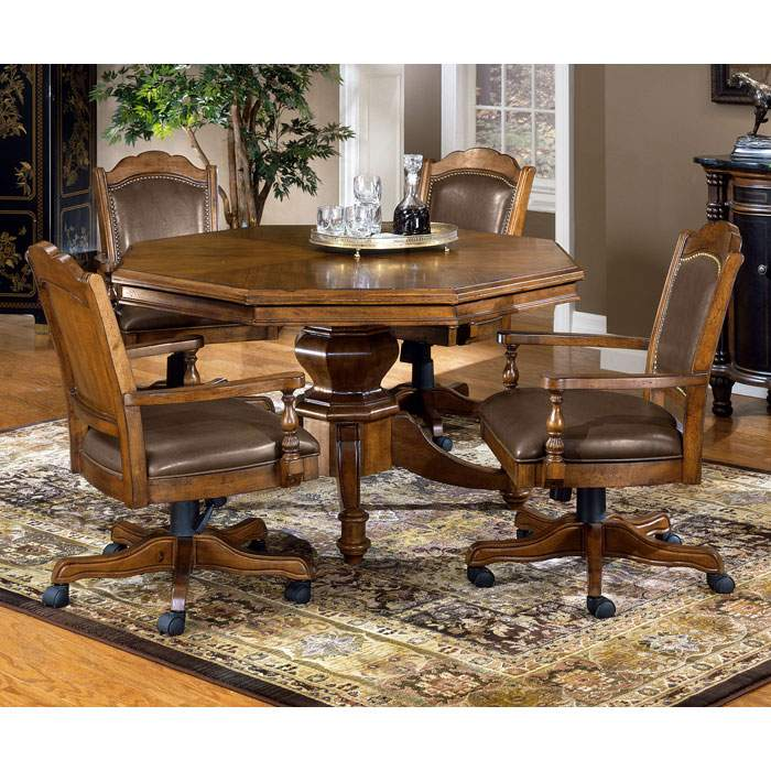 Nassau 5 Piece Game Set with Leather Game Chairs