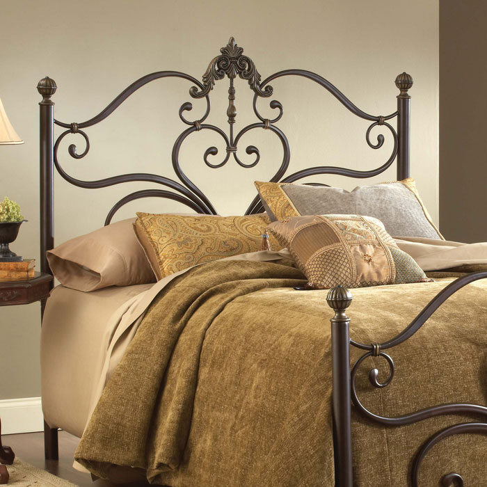 Newton Antique Metal Headboard with Frame