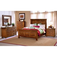 Outback Distressed Chestnut Bedroom Set with Raised Panel Bed