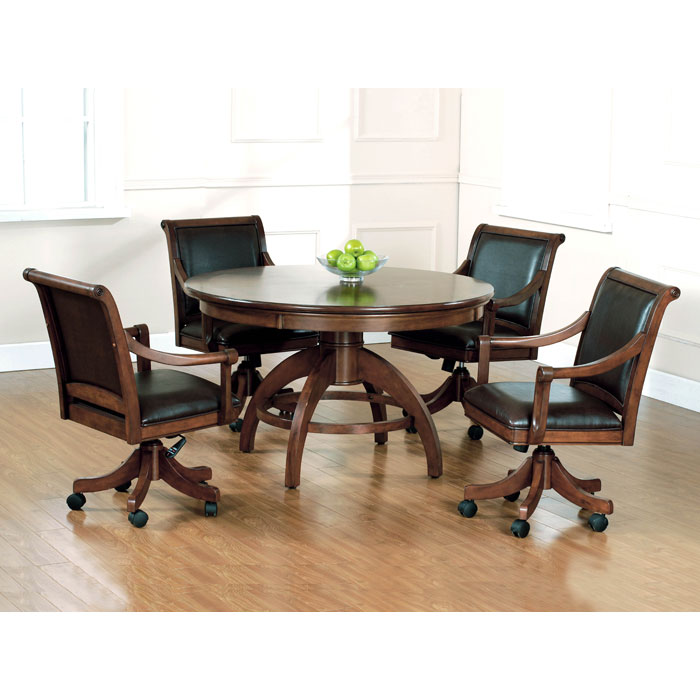 Palm Springs 5 Piece Round Top Game Set With Leather Chairs Dcg Stores