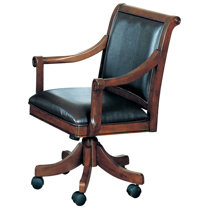Palm Springs Leather Game Chair On Casters Dcg Stores