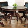 Palm Springs 5 Piece Round Top Game Set with Leather Chairs - HILL-4185GTBC