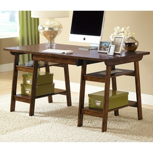 Park Glen Wooden Desk with Open Shelves in Cherry