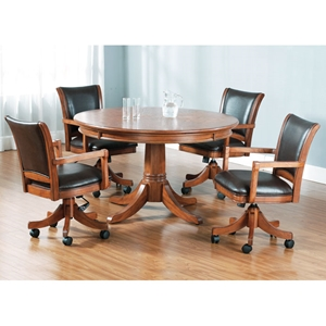 Parkview 5 Piece Round Top Game Set with Leather Chairs