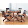 Parkview 5 Piece Round Top Game Set with Leather Chairs - HILL-4186GTBC