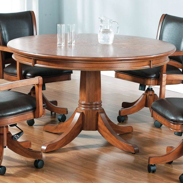 Parkview Round Game/Dining Table in Medium Brown Oak