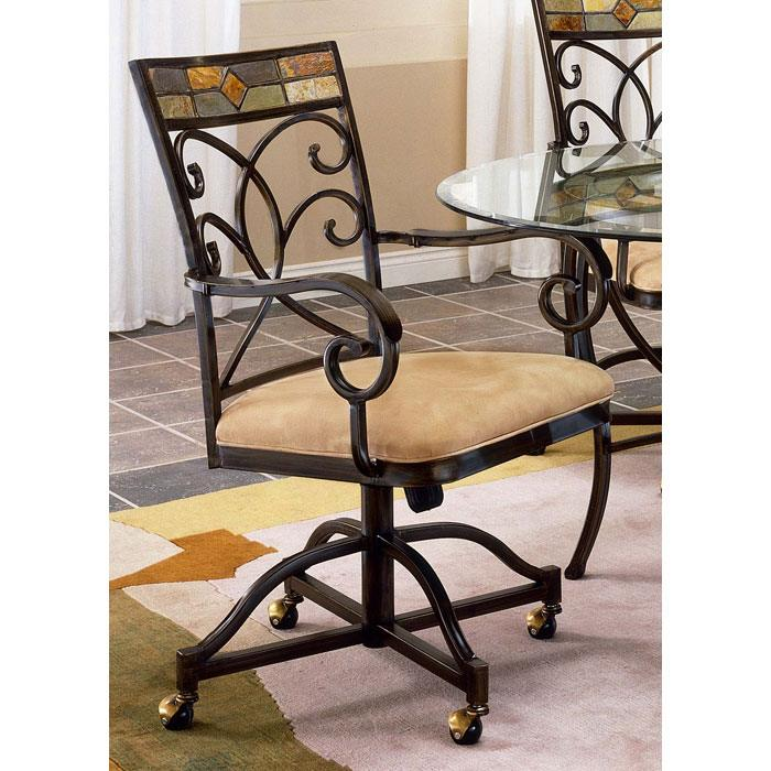 Pompei Glass Dining Table with Caster Chairs - HILL-4442DTBCWC