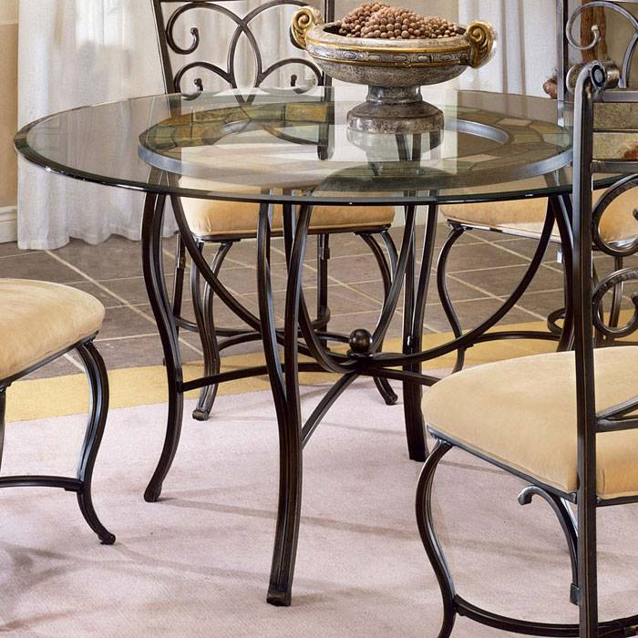 Pompei Round Glass Dining Table with Slate Accents DCG Stores