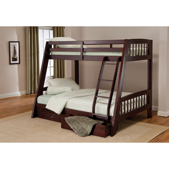 Rockdale Espresso Bunk Bed with Storage Drawers - HILL-1668BB