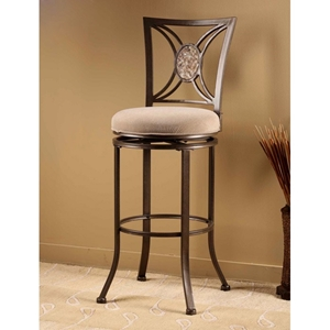 "Rowan 26"" Swivel Counter Stool with Oval Fossil Stone Accent"