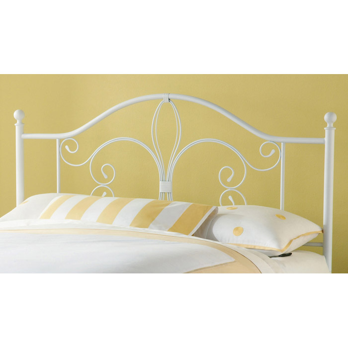 Ruby Textured White Metal Headboard - HILL-1687