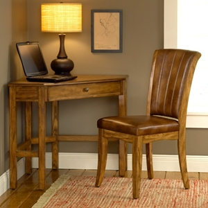 Solano Wooden Corner Desk and Chair in Medium Oak
