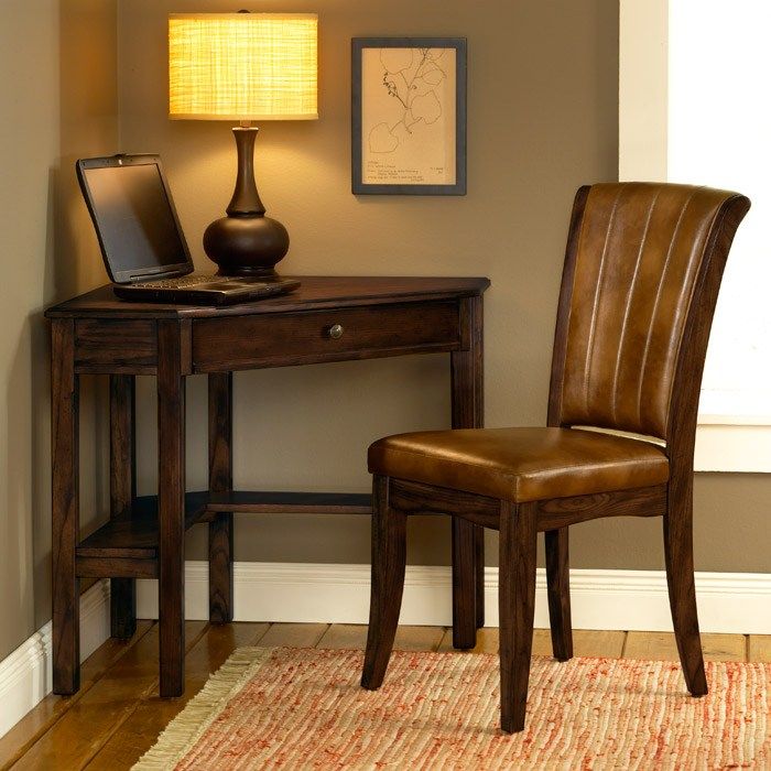 Solano Wooden Corner Desk And Chair Set In Cherry   HILL 4379SD ...