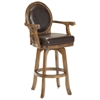 "Warrington 30"" Swivel Bar Stool Cherry, Brown Leather Seat - HILL-6125-830"