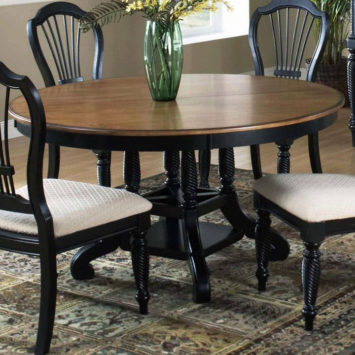 Wilshire Round Dining Table with Extension Leaf - HILL-450XDTBRND