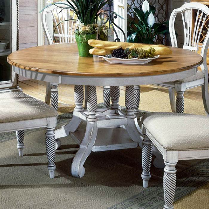 Wilshire Round Dining Table With Extension Leaf Dcg Stores