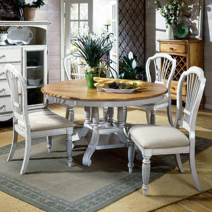Wilshire Round Extension Dining Table and Chairs - HILL-450XDTBRNDC5
