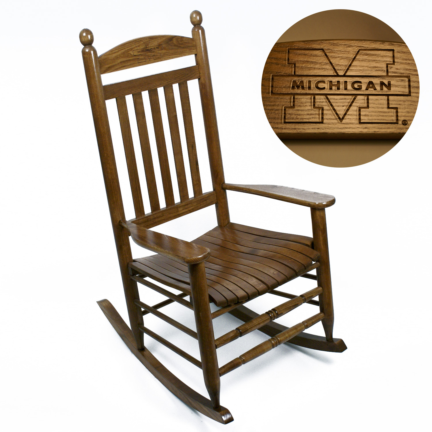 Michigan Wolverines Rocker - Maple Finish