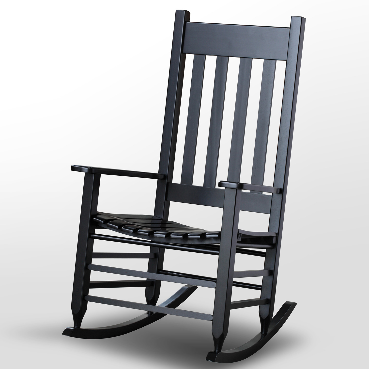 Plantation Rocking Chair - Slat Back & Seat, Black Paint