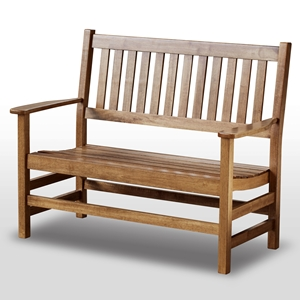 Plantation 49 Cottage Style Bench - Slatted, Maple Stain