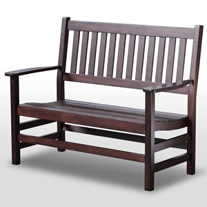 Plantation 49 Cottage Style Bench - Slatted, Mahogany Stain