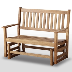 Plantation 49 Wood Porch Glider - Slatted, Maple Stain