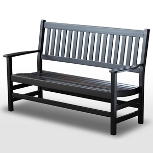 Plantation 61 Slatted Wood Bench - Black Paint