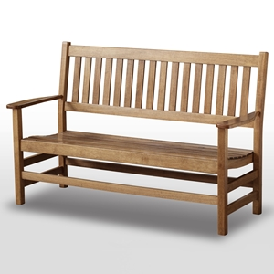 Plantation 61 Slatted Wood Bench - Maple Stain