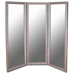 Monterey Mirrored Room Divider in Antique Silver - Made in USA