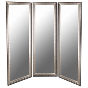 Plumpton Mirrored Room Divider in Silver with Black Trim - Made in USA