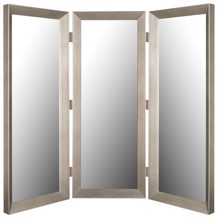 Silverwater Mirrored Room Divider in Baroni Silver  Made in USA  DCG