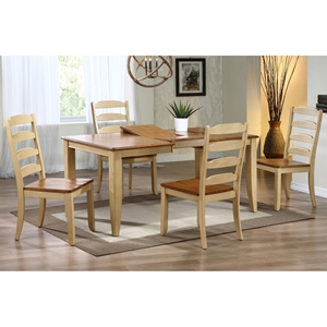 Avelina 5 Piece Extension Dining Set - Ladder Chairs, Honey & Sand Finish