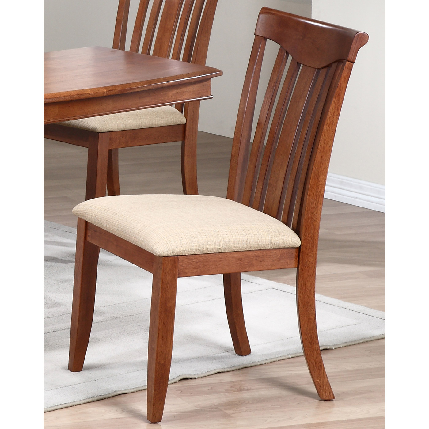 Karenina Side Chair - Slat Back, Beige Fabric Seat - ICON-CH51-UP